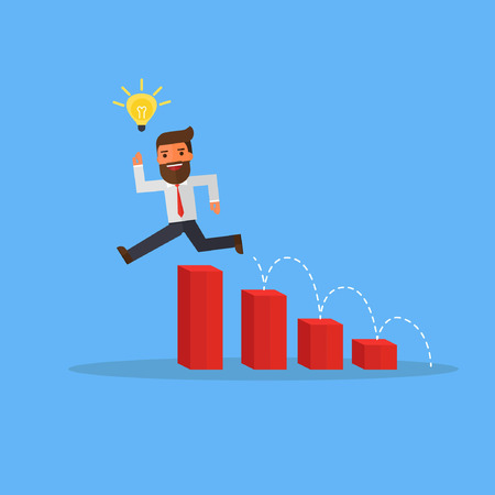 businessman with idea bulbs jump over charts Stock Illustratie