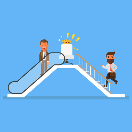 Businessmen who use escalator to success Illustration