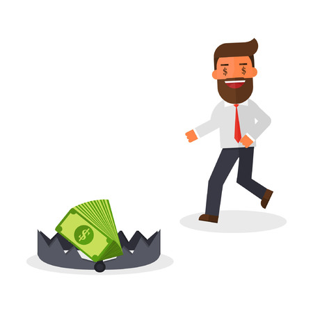 Greedy businessman running to money on bear trap