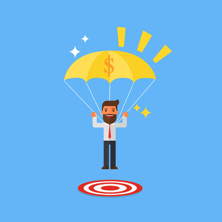 Businessman with success focused on a target Illustration
