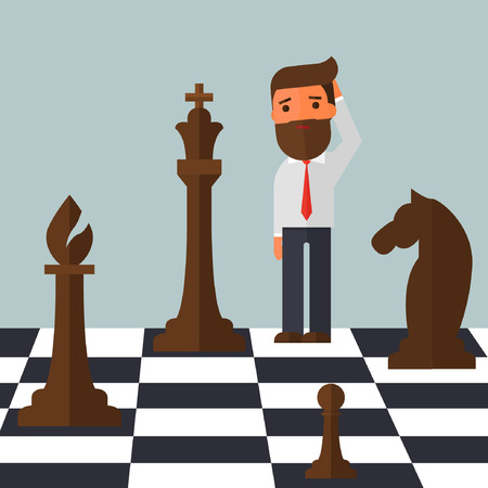 confused businessman on chessboard