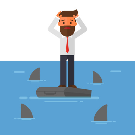 In The Sea Surrounded By Sharks have Worried Businessman Standing On Briefcase