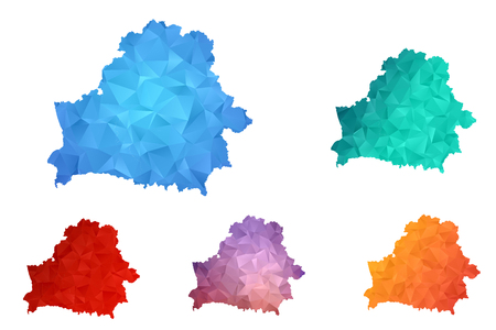 Variety color polygon map on white background of map of Belarus symbol for your web site design map logo, app, ui. Travel vector eps10, concept illustration.
