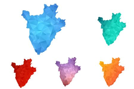 Variety color polygon map on white background of map of burundi symbol for your web site design map logo, app, ui, Travel vector eps10, concept Illustration. Illustration