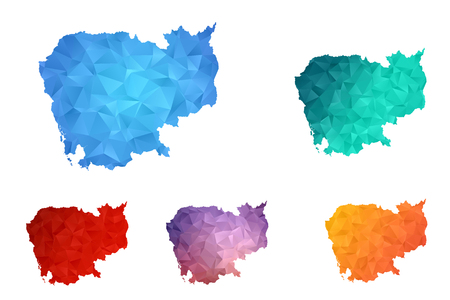 Variety color polygon map on white background of map of cambodia symbol for your web site design map logo, app, ui, Travel vector eps10, concept Illustration.