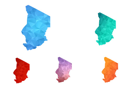 Variety color polygon map on white background of map of chad symbol for your web site design map logo, app, ui, Travel vector eps10, concept Illustration.