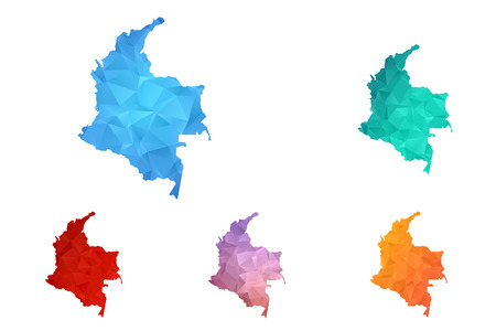Variety color polygon map on white background of map of Colombia symbol for your web site design map logo, app, ui, Travel vector eps10, concept Illustration. Illustration