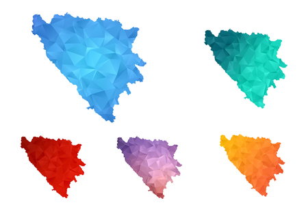 Variety color polygon map on white background of map of bosnia and herzegovina symbol for your web site design map logo, app, ui, Travel vector eps10, concept Illustration.