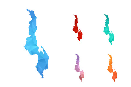 Variety color polygon map on white background of map of malawi symbol for your web site design map logo, app, ui, Travel vector eps10, concept Illustration.