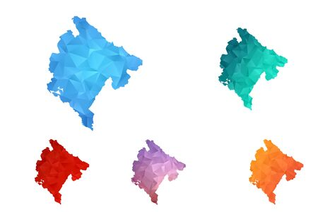 Variety color polygon map on white background of map of Montenegro symbol for your web site design map logo, app, ui, Travel vector eps10, concept Illustration.