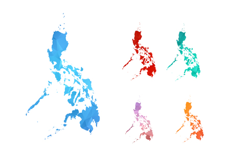 Variety color polygon map on white background of map of Philippines symbol for your web site design map logo, app, ui, Travel vector eps10, concept Illustration. Illustration