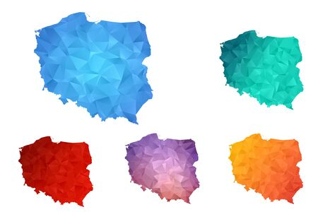 Variety color polygon map on white background of map of Poland symbol for your web site design map logo, app, ui, Travel vector eps10, concept Illustration.