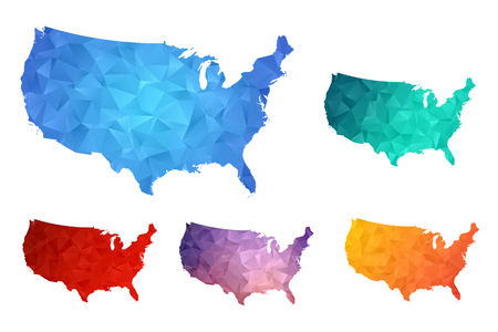 Variety color polygon map on white background of map of united states of america symbol for your web site design map logo, app, ui, Travel vector eps10, concept Illustration.