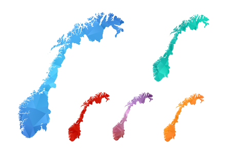 Variety color polygon map on white background of map of Norway symbol for your web site design map  , app, ui, Travel vector  , concept Illustration.