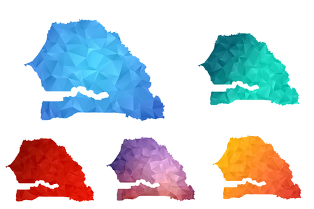 Variety color polygon map on white background of map of Senegal symbol for your web site design map  , app, ui, Travel vector eps10, concept Illustration. Illustration