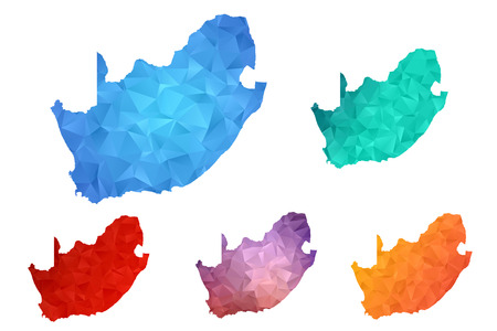 Variety color polygon map on white background of map of South Africa symbol for your web site design map  , app, ui, Travel vector eps10, concept Illustration.