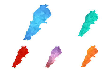 Variety color polygon map on white background of map of lebanon symbol for your web site design map logo, app, ui, Travel vector, concept Illustration.