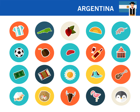 Argentina concept flat colorful icons. Illustration