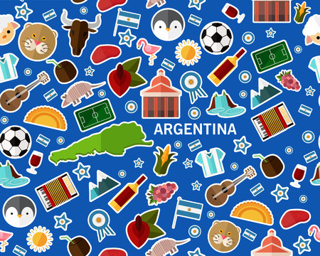 Flat vector seamless texture pattern of Argentina.