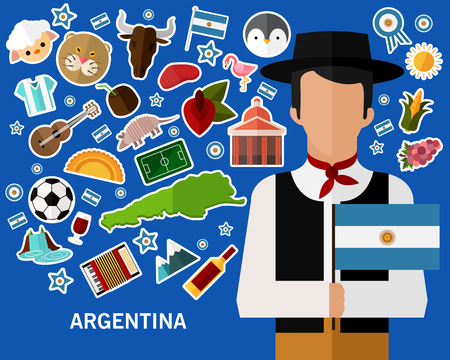 Argentina concept background colorful flat icons.