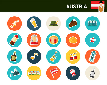 Austria concept flat colorful icons.