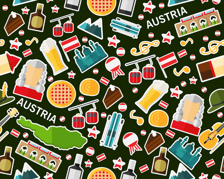Vector flat seamless texture pattern of Austria graphic elements. Illustration