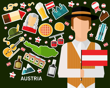 Austria concept background .Flat icons