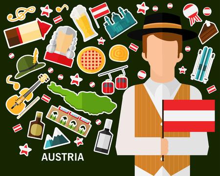 Austria concept background .Flat icons