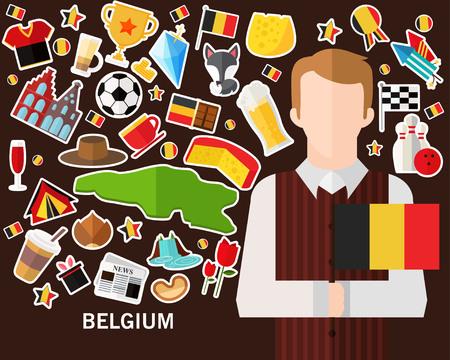 Belgium concept background .Flat icons  イラスト・ベクター素材