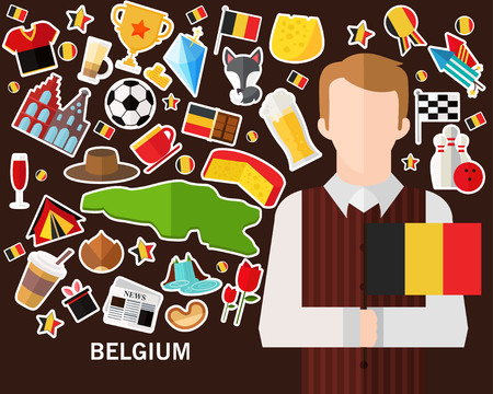 Belgium concept background .Flat icons Vettoriali