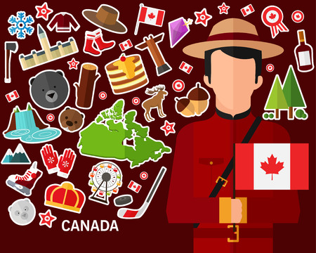 Canada concept background .Flat icons
