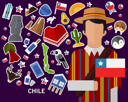 Chile concept background .Flat icons Illustration