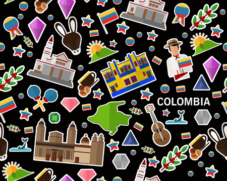 Vector flat seamless texture pattern colombia