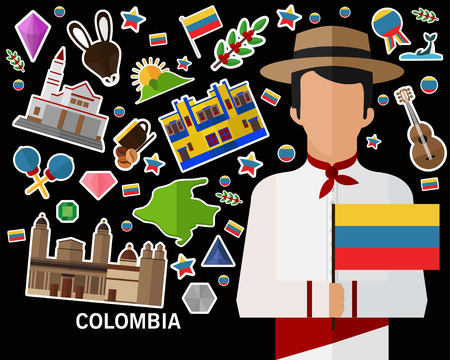 Colombia concept background .Flat icons
