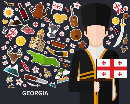 Georgia concept background .Flat icons