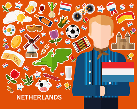 Netherlands concept background flat icons. Illustration