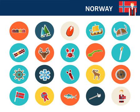 Norway concept flat icons. Фото со стока - 95852281