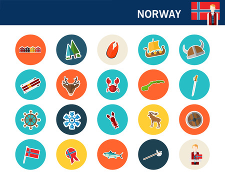 Norway concept flat icons.