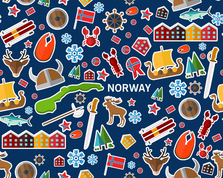 Flat vector seamless texture pattern for Norway. Illustration