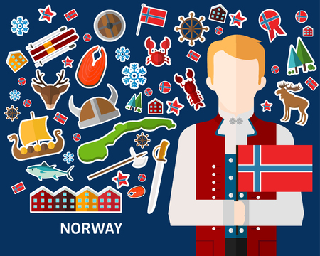 Norway concept background, Flat icons. Illustration