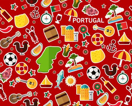 Vector flat seamless texture pattern Portugal.