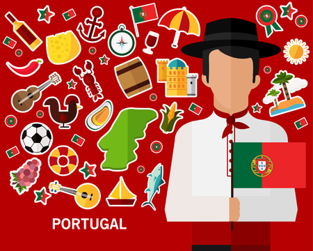 Portugal concept background in Flat icons.