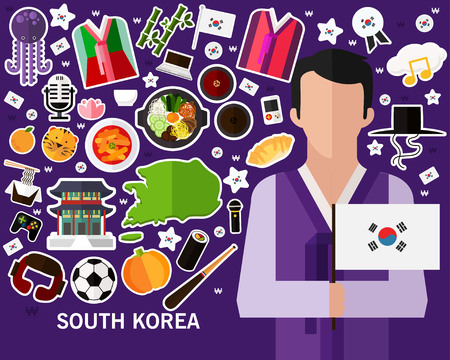 South Korea concept background, Flat icons.