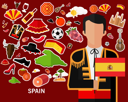 Spain concept background, Flat icons.