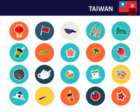 Taiwan concept flat icons.