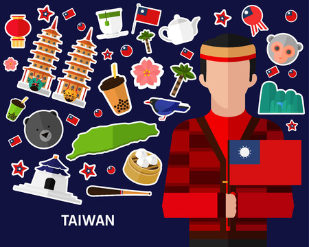 Taiwan concept background, Flat icons.