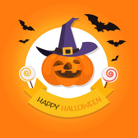 Flat design Vector Halloween background with pumpkin Designed for Web, Document, Greeting Card, Poster, Label and Other Decoration Surface