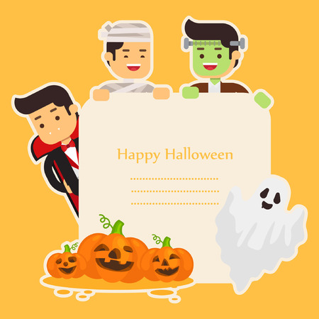 Halloween background with lovely costumes Illustration
