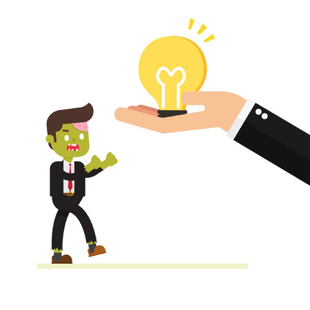 zombie businessman happy because get a bulb