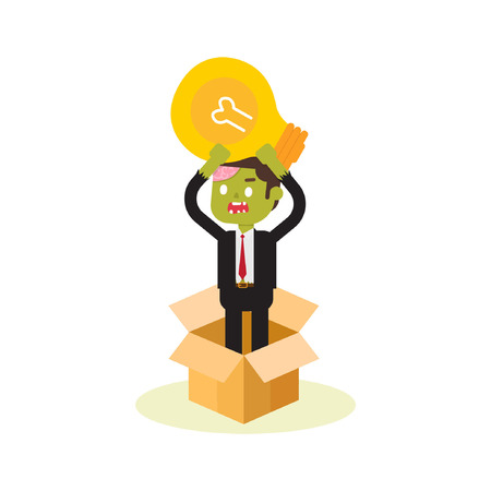zombie businessman thinking bulb outside box Stock Vector - 110201633